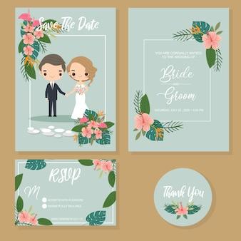 Zestaw cute para w tropikalne zaproszenia ślubne