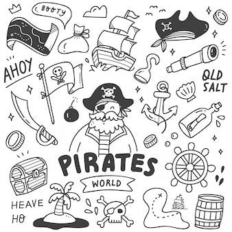 Zestaw cute pirates doodle