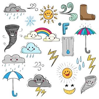 Zestaw cute pogody z twarzą kawaii przy użyciu stylu doodle
