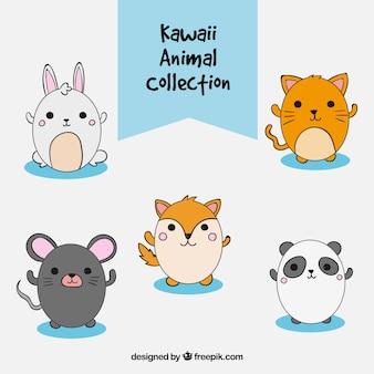 Zestaw cute ręcznie rysowane zwierząt