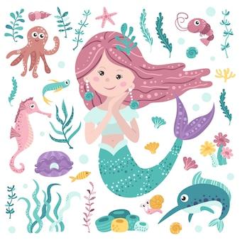Zestaw cute syrenka, wodorosty morskie i mieszkańców morskich
