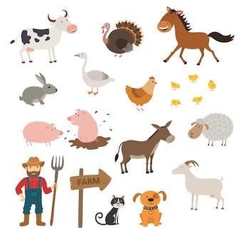 Zestaw cute zwierząt gospodarskich
