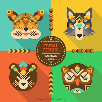 Zestaw cute zwierząt płaskich etnicznych