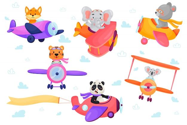 Zestaw cute zwierząt w samolotach. transport dzieci. śmieszni piloci. lis, niedźwiedź, tygrys, słoń, panda, koala. ilustracja