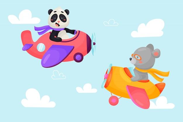Zestaw cute zwierząt w samolotach. transport dzieci. śmieszni piloci. niedźwiedź, panda. ilustracja