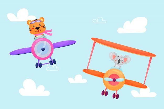 Zestaw cute zwierząt w samolotach. transport dzieci. śmieszni piloci. tygrys, koala. ilustracja