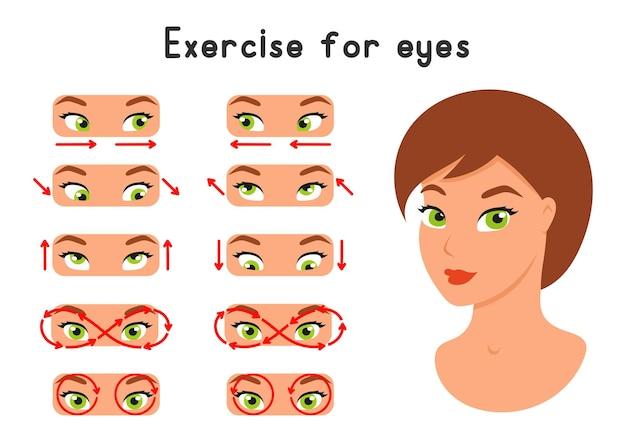 Zestaw ćwiczeń Dla Oczu Rozciąganie Relaksacyjne Dla Lepszego Widzenia Premium Wektorów
