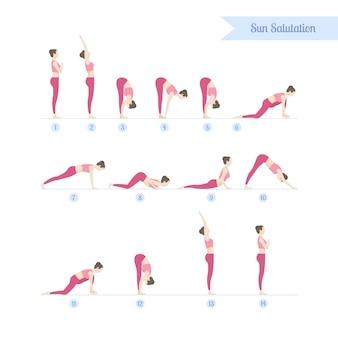 Zestaw ćwiczeń jogi, płaska konstrukcja dziewczyny.
