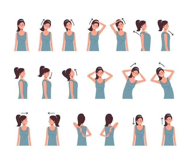 Zestaw ćwiczeń kręgosłupa szyi na białym tle