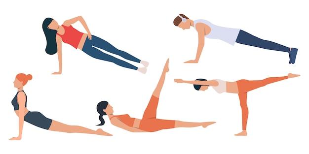 Zestaw ćwiczeń mężczyzn i kobiet
