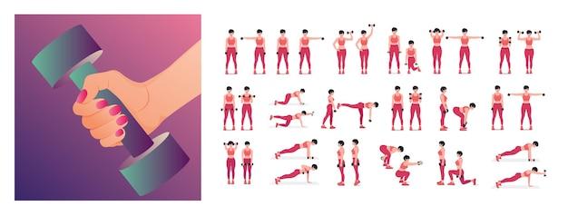 Zestaw ćwiczeń z hantlami dla kobiet wykonujących ćwiczenia fitness