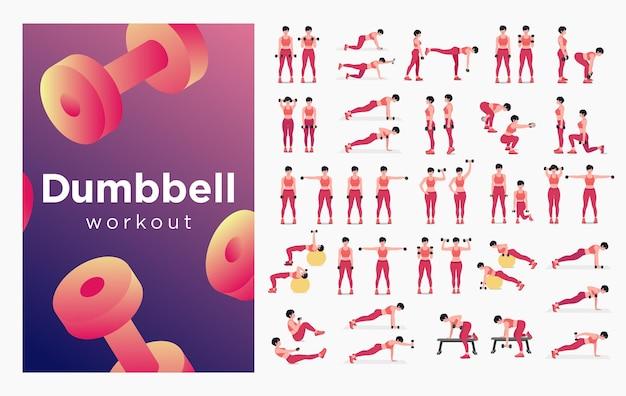 Zestaw ćwiczeń z hantlami kobiety robiące ćwiczenia fitness i jogę