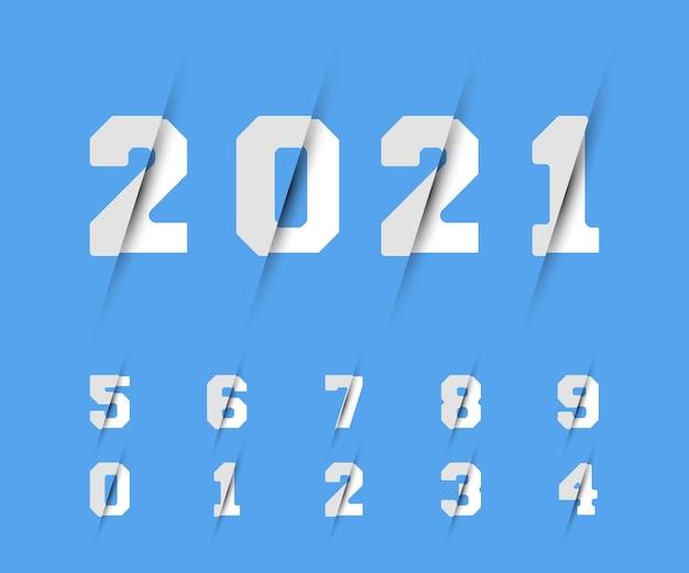 Zestaw cyfr 0 1 2 3 4 5 6 7 8 9 projekt brzytwy. ilustracja wektorowa.