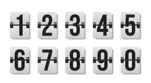 Zestaw cyfr mechanicznej tablicy wyników.