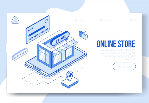 Zestaw cyfrowy koncepcja izometryczny sklep internetowy