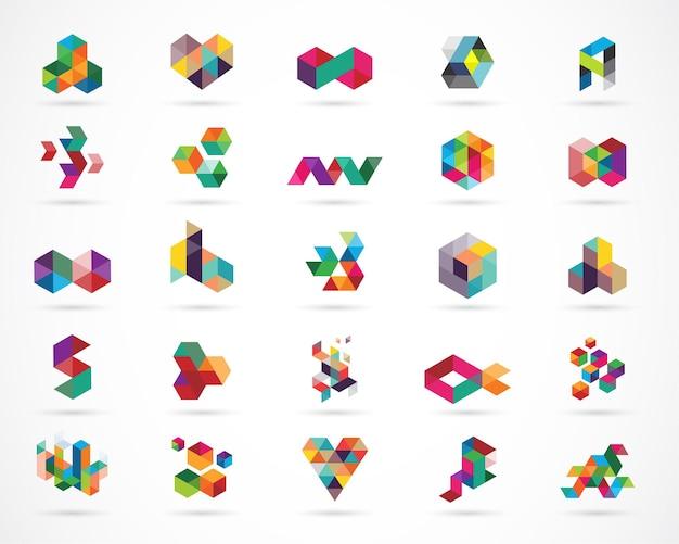 Zestaw cyfrowych abstrakcyjnych kolorowych logo