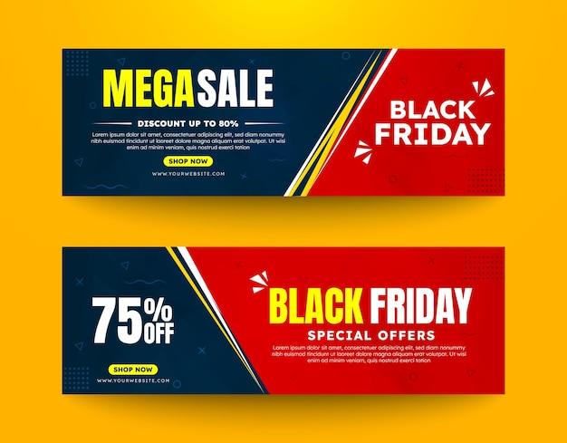 Zestaw cyfrowych banerów reklamowych czarny piątek mega wyprzedaż