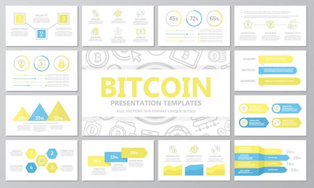 Zestaw cyfrowych bitcoinów i elementów kryptowaluty do uniwersalnych slajdów szablonów prezentacji.