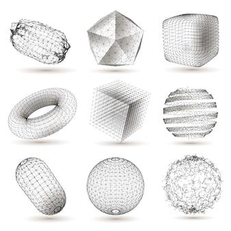 Zestaw cyfrowych kształtów geometrycznych