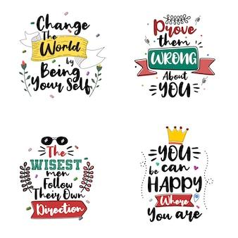 Zestaw cytatów motywacyjnych typografii