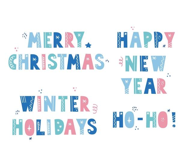 Zestaw cytatów napis w stylu skandynawskim z elementami świątecznymi, płatkiem śniegu, gwiazdą, linią. tekst świąt bożego narodzenia. kolorowa litera.