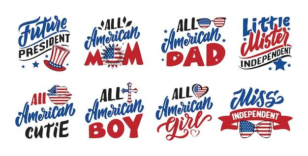 Zestaw cytatów z dnia niepodległości ameryki i powiedzenia na 4 lipca handdrawn zwroty literowe