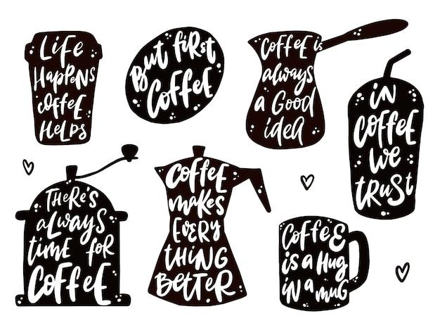 Zestaw cytatów z napisem kawy