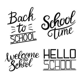 Zestaw cytatów z napisem witamy z powrotem do szkoły. powrót do tagu sprzedaży szkolnej. ilustracja wektorowa. ręcznie rysowane odznaki napis. zestaw godło typografii. kreda tło