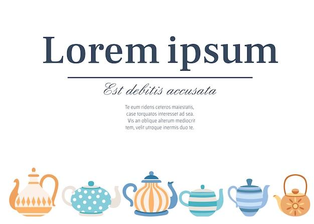 Zestaw czajników z uroczymi wzorami. styl kreskówki zestaw herbaty. ilustracji wektorowych na białym tle. miejsce na tekst