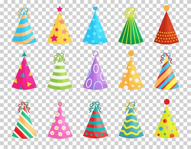 Zestaw czapeczek urodzinowych na przezroczystym tle. szyszki z uroczą dekoracją. kolekcja czapek świątecznych.