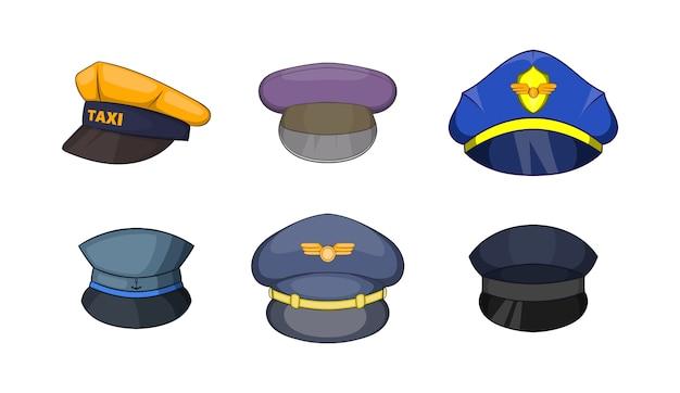 Zestaw czapek. kreskówka zestaw elementów wektorów wpr