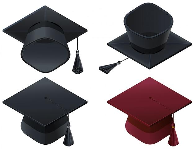 Zestaw czapki mortarboard, ukończenia szkoły średniej