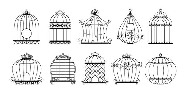 Zestaw czarna sylwetka klatki dla ptaków. vintage klatka bez kolekcji ptaków.