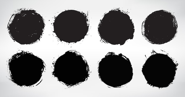 Zestaw czarne okrągłe ramki grunge