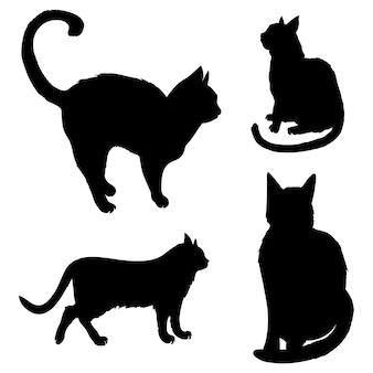Zestaw czarne sylwetki siedzące koty na białym tle