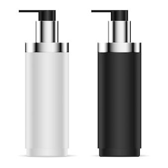 Zestaw czarno-białych butelek z dozownikiem pompy.