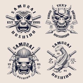Zestaw czarno-białych emblematów vintage na temat samuraja