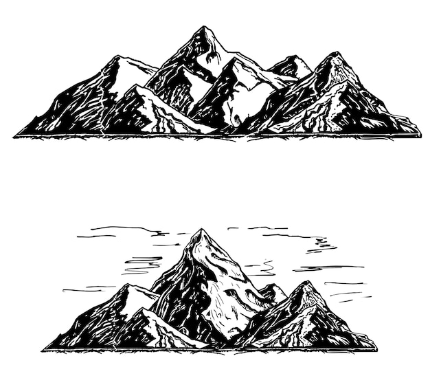Zestaw czarno-białych gór. sylwetki gór, wyżyn, skalistych krajobrazów, wzgórz na białym tle.