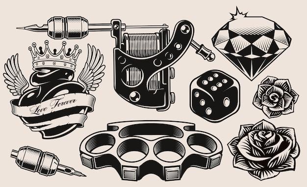 Zestaw czarno-białych ilustracji na temat tatuażu