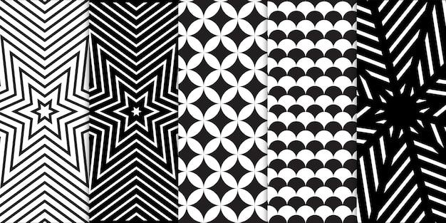 Zestaw czarno-białych kształtów geometrycznych i bezszwowego wzoru złudzenia optycznego spirali lub fali