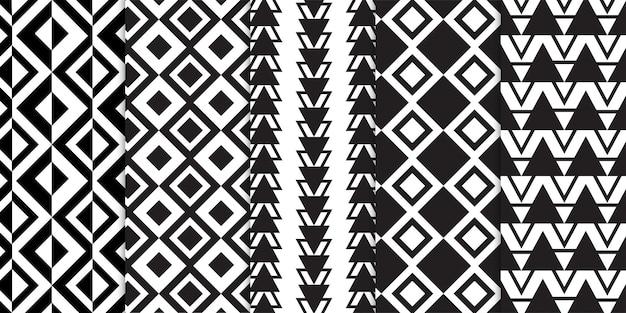 Zestaw czarno-białych linii geometrycznych i abstrakcyjnych w kształcie pasków
