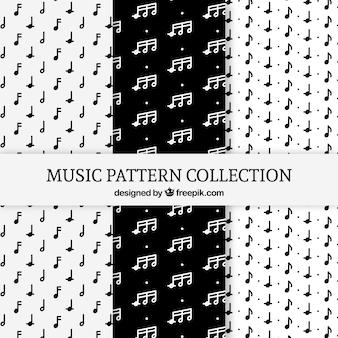 Zestaw czarno-białych wzorów z nutami muzycznymi