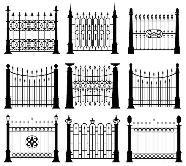 Zestaw czarno-białych żelaznych bram i ogrodzeń