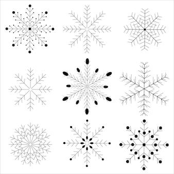 Zestaw czarno na białym tle sylwetka ikona płatki śniegu na białym tle. płaskie ikony śniegu, sylwetka. ładny element na bożonarodzeniowy baner, karty. ozdoba na nowy rok. wektor