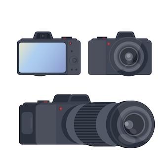 Zestaw czarny aparat. odizolowana kamera z dużym ekranem