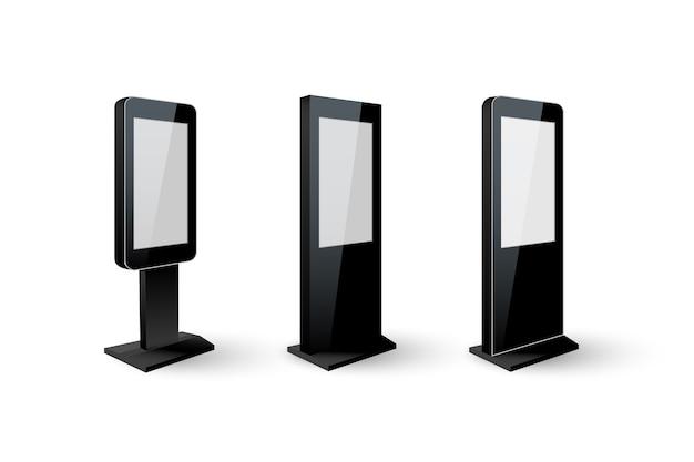 Zestaw czarny digital signage na białym tle.