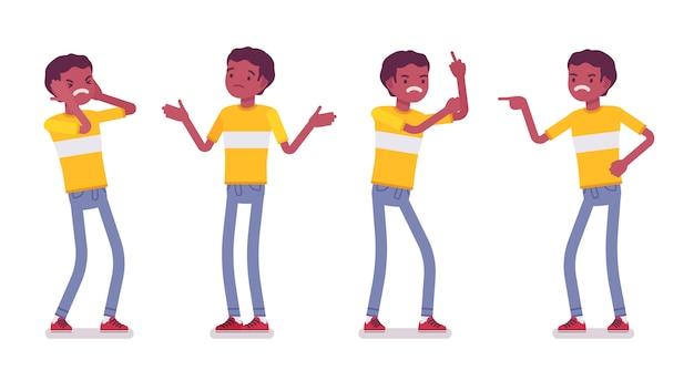 Zestaw czarny lub afroamerykanin młodego człowieka, negatywne emocje
