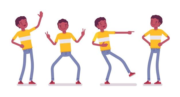 Zestaw czarny lub afroamerykanin młodego człowieka, pozytywne emocje