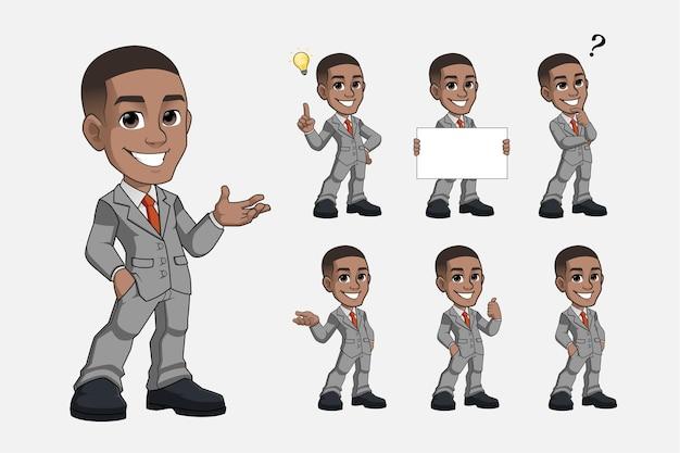 Zestaw czarny młody biznes człowiek kreskówka maskotka w szarym garniturze wektor premium