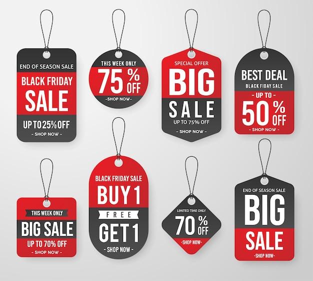 Zestaw czarny piątek sprzedaż tag cena szablon etykiety